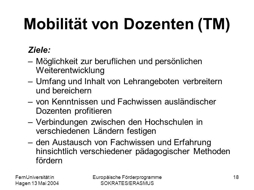 FernUniversität in Hagen 13 Mai 2004 Europäische Förderprogramme SOKRATES/ERASMUS 18 Mobilität von Dozenten (TM) Ziele: –Möglichkeit zur beruflichen u