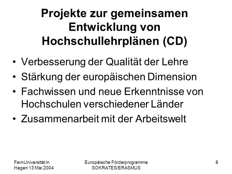 FernUniversität in Hagen 13 Mai 2004 Europäische Förderprogramme SOKRATES/ERASMUS 8 Projekte zur gemeinsamen Entwicklung von Hochschullehrplänen (CD)