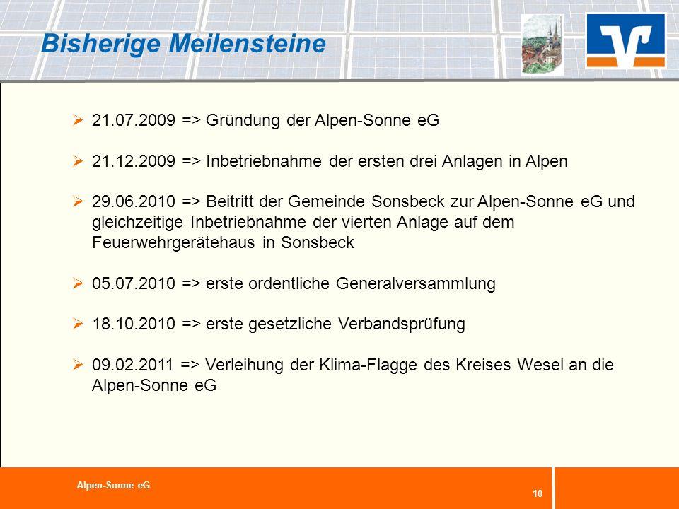 10 Bisherige Meilensteine 21.07.2009 => Gründung der Alpen-Sonne eG 21.12.2009 => Inbetriebnahme der ersten drei Anlagen in Alpen 29.06.2010 => Beitri