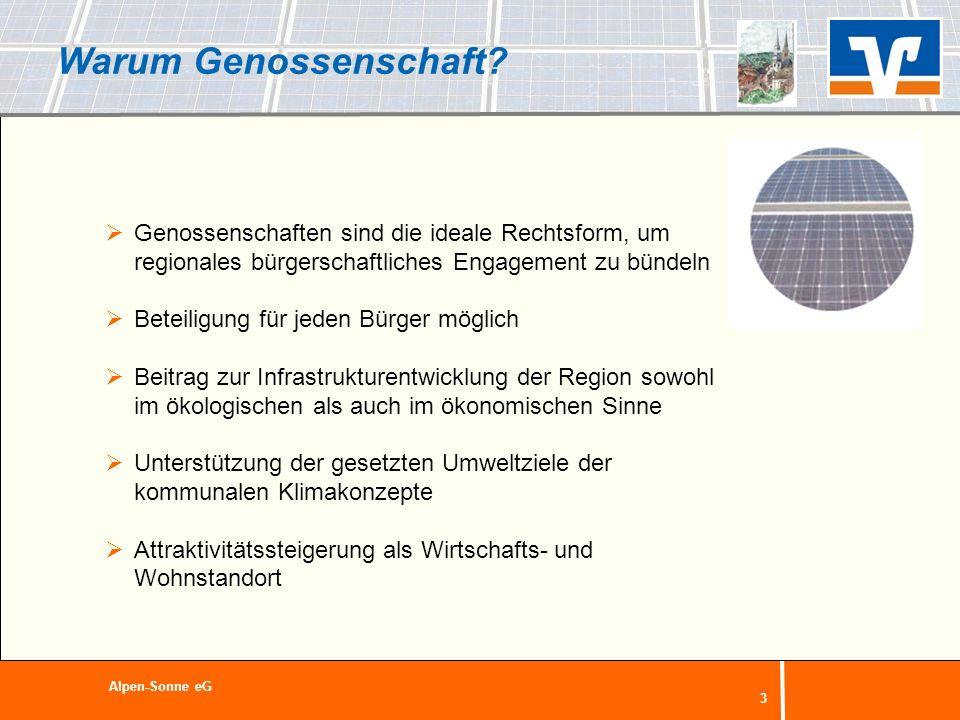 4 Die Aufgabenverteilung (konkret: Alpen-Sonne) Kommune (Gemeinde Sonsbeck/Alpen) Entscheidung über die grundsätzliche Beteiligung an dem Projekt Identifizierung geeigneter Dachflächen Mitwirkung bei der Erstellung eines Energie-Katasters und Unterstützung bei der Umsetzung Positive Begleitung des Vorhabens in der Öffentlichkeit Mitwirkung im Aufsichtsrat der eG Alpen-Sonne eG
