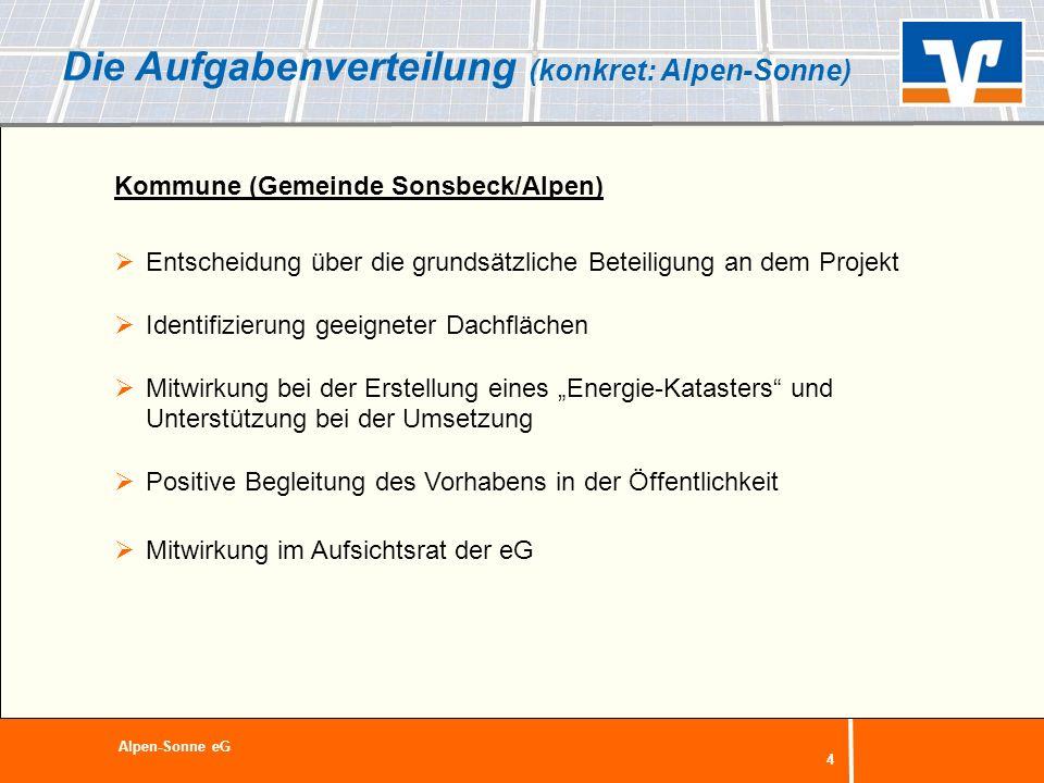 4 Die Aufgabenverteilung (konkret: Alpen-Sonne) Kommune (Gemeinde Sonsbeck/Alpen) Entscheidung über die grundsätzliche Beteiligung an dem Projekt Iden