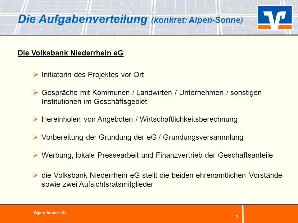 5 Die Aufgabenverteilung (konkret: Alpen-Sonne) Die Volksbank Niederrhein eG Initiatorin des Projektes vor Ort Gespräche mit Kommunen / Landwirten / U