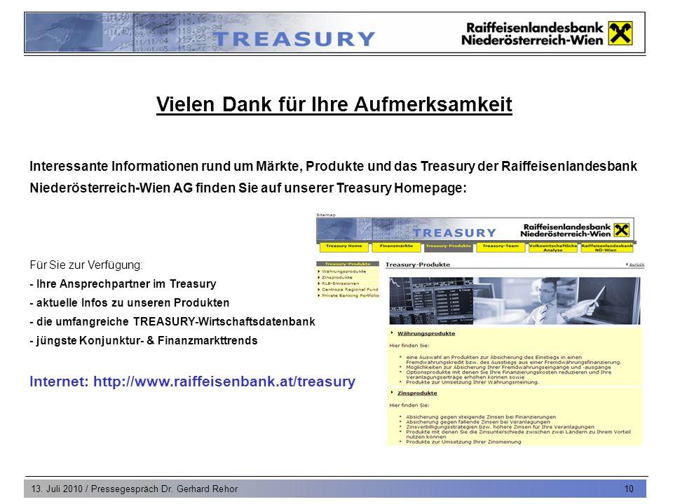 13. Juli 2010 / Pressegespräch Dr. Gerhard Rehor 10 Vielen Dank für Ihre Aufmerksamkeit Interessante Informationen rund um Märkte, Produkte und das Tr
