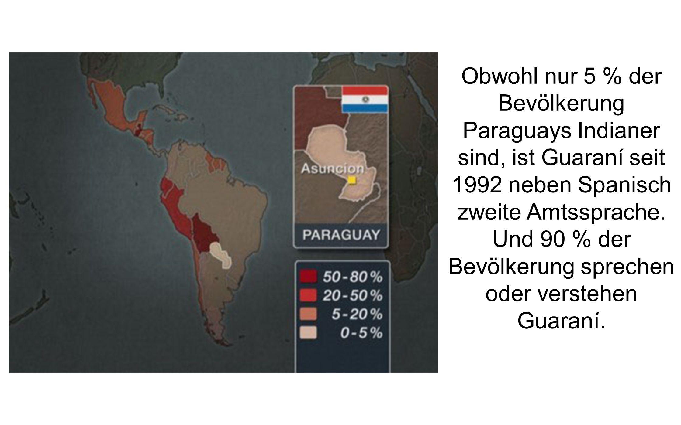 Obwohl nur 5 % der Bevölkerung Paraguays Indianer sind, ist Guaraní seit 1992 neben Spanisch zweite Amtssprache. Und 90 % der Bevölkerung sprechen ode
