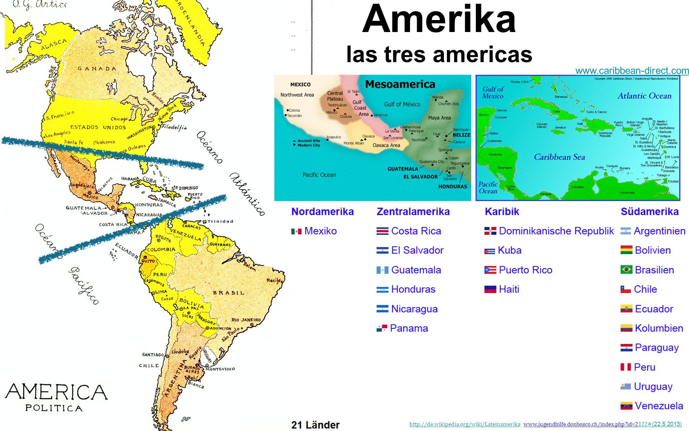 las tres americas Amerika www.caribbean-direct.comwww.caribbean-direct.com/ http://de.wikipedia.org/wiki/Lateinamerikahttp://de.wikipedia.org/wiki/Lat