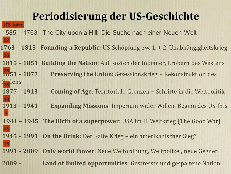 Periodisierung der US-Geschichte 1585 – 1763 The City upon a Hill: Die Suche nach einer Neuen Welt 1763 – 1815 Founding a Republic: US-Schöpfung zw.