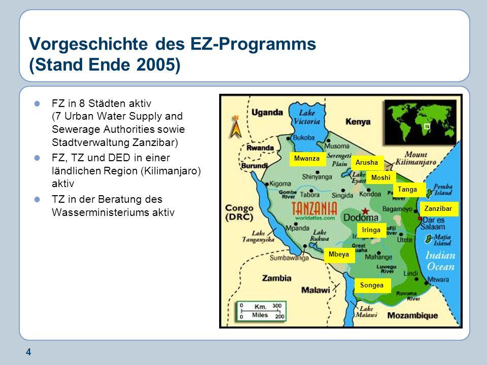 4 Mwanza Iringa Moshi Tanga Arusha Songea Vorgeschichte des EZ-Programms (Stand Ende 2005) FZ in 8 Städten aktiv (7 Urban Water Supply and Sewerage Au