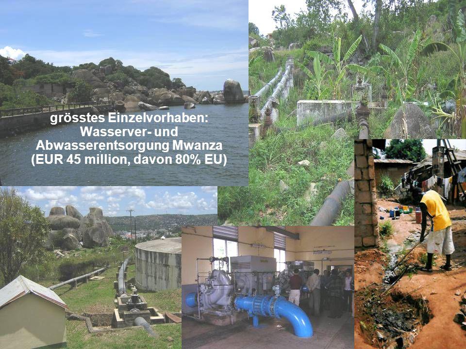 5 grösstes Einzelvorhaben: Wasserver- und Abwasserentsorgung Mwanza (EUR 45 million, davon 80% EU)