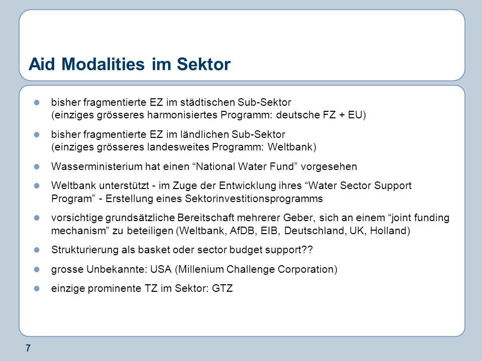 7 Aid Modalities im Sektor bisher fragmentierte EZ im städtischen Sub-Sektor (einziges grösseres harmonisiertes Programm: deutsche FZ + EU) bisher fra