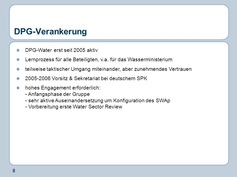 8 DPG-Verankerung DPG-Water erst seit 2005 aktiv Lernprozess für alle Beteiligten, v.a.