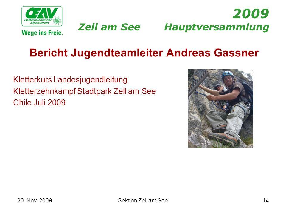 20. Nov. 2009Sektion Zell am See14 2009 Zell am SeeHauptversammlung Bericht Jugendteamleiter Andreas Gassner Kletterkurs Landesjugendleitung Kletterze