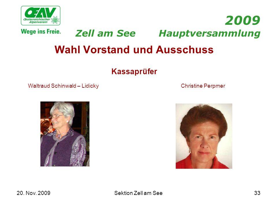 20. Nov. 2009Sektion Zell am See33 2009 Zell am SeeHauptversammlung Wahl Vorstand und Ausschuss Kassaprüfer Waltraud Schinwald – LidickyChristine Perp
