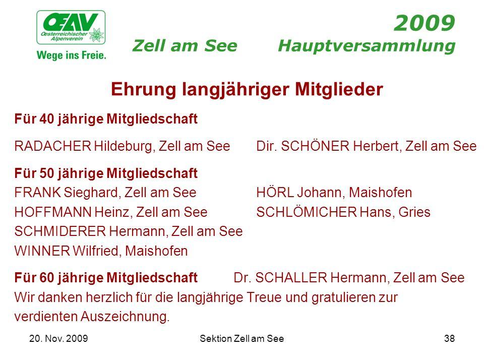 20. Nov. 2009Sektion Zell am See38 2009 Zell am SeeHauptversammlung Ehrung langjähriger Mitglieder Für 40 jährige Mitgliedschaft RADACHER Hildeburg, Z