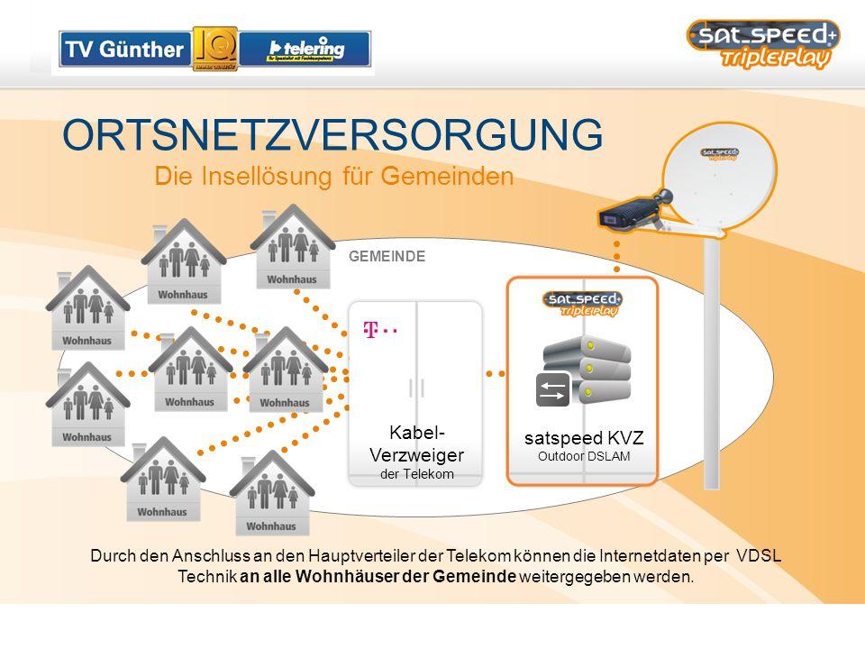 ORTSNETZVERSORGUNG Die Insellösung für Gemeinden satspeed KVZ Outdoor DSLAM GEMEINDE Durch den Anschluss an den Hauptverteiler der Telekom können die