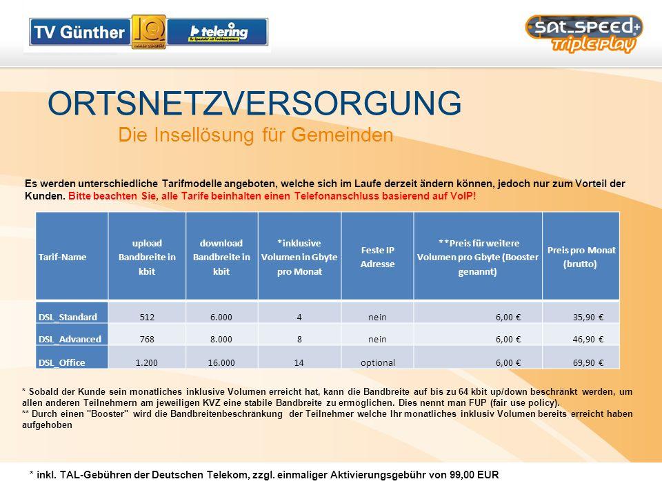 ORTSNETZVERSORGUNG Die Insellösung für Gemeinden * inkl. TAL-Gebühren der Deutschen Telekom, zzgl. einmaliger Aktivierungsgebühr von 99,00 EUR Tarif-N