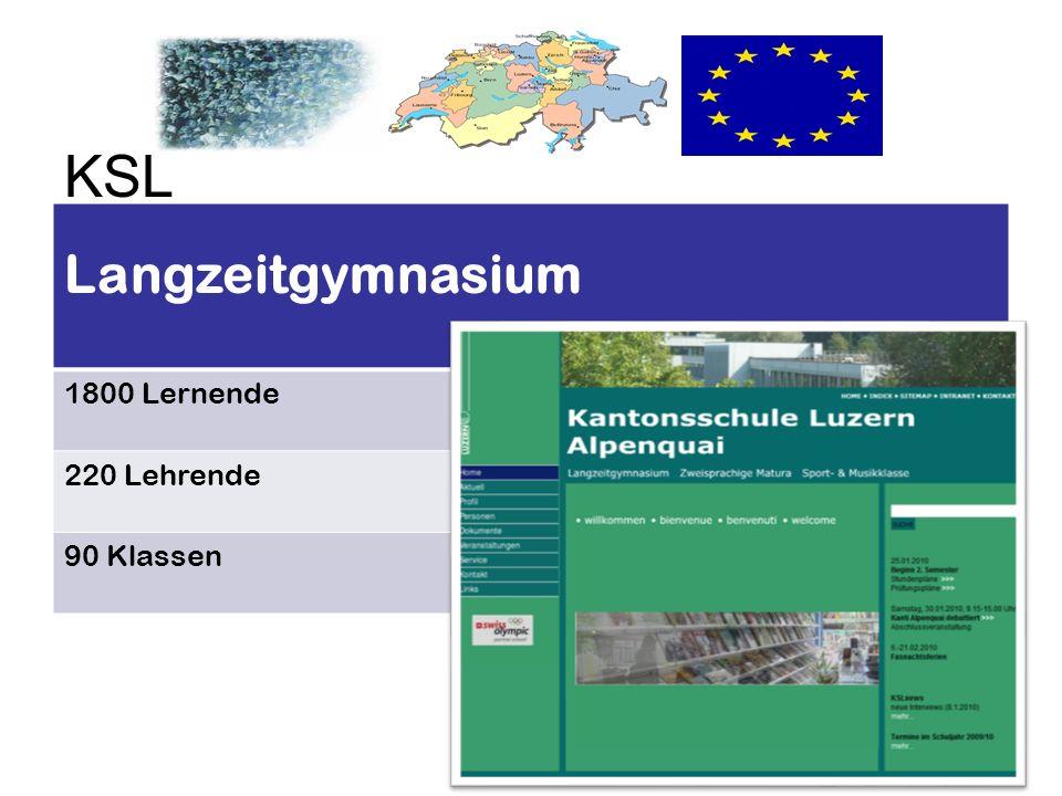 KSL Langzeitgymnasium 1800 Lernende 220 Lehrende 90 Klassen