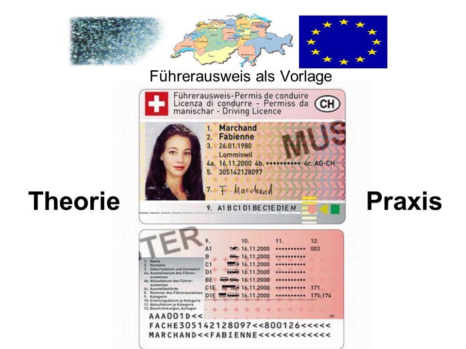 TheoriePraxis Führerausweis als Vorlage