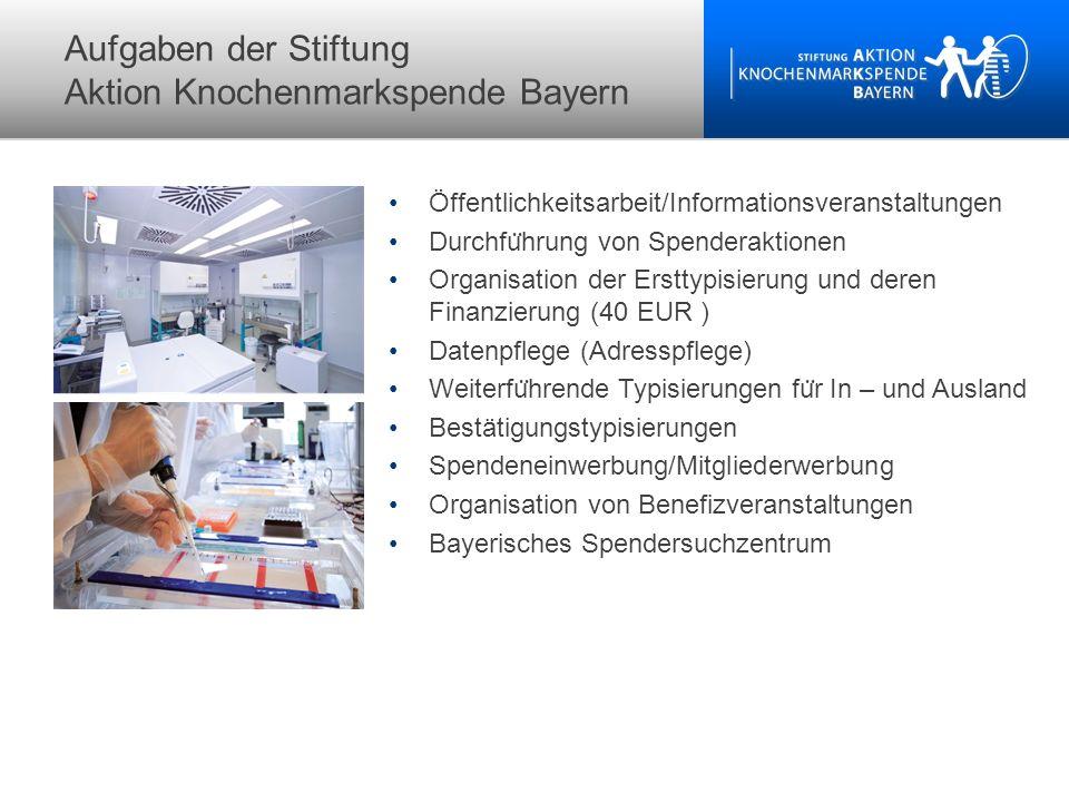 Aufgaben der Stiftung Aktion Knochenmarkspende Bayern Öffentlichkeitsarbeit/Informationsveranstaltungen Durchfu ̈ hrung von Spenderaktionen Organisati