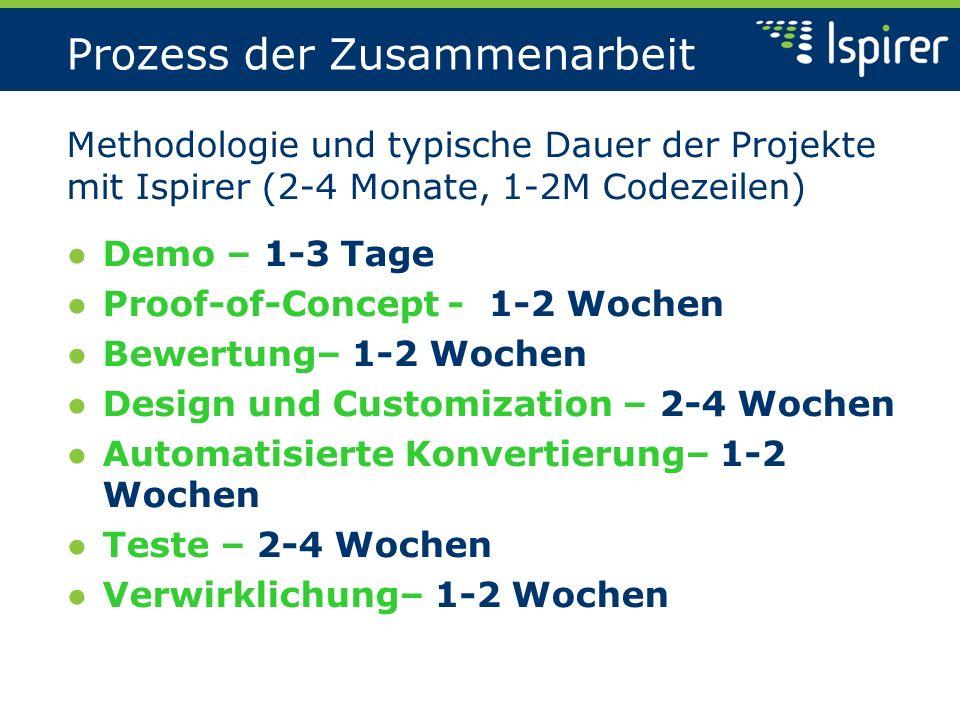 Demo und POC Demonstrierung von SQLWays: Demo – 1-2 Tage Demonstration der Demo-Präsentation für Dutzende Dateien, Scripte; Besprechung der Charakteristika und Kapazitäten des Werkzeugs; Proof-of-Concept – 1-2 Wochen Durchführung einer POC-Konvertierung für einige Moduln; Besprechung der Lösungen für Migration;