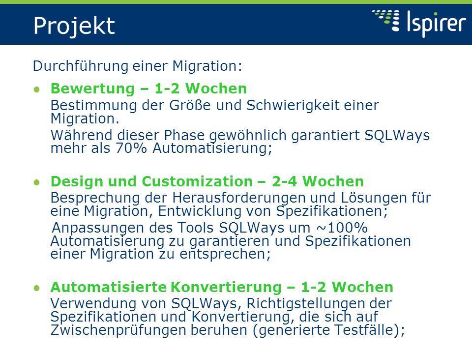 Projekt Durchführung einer Migration: Bewertung – 1-2 Wochen Bestimmung der Größe und Schwierigkeit einer Migration.