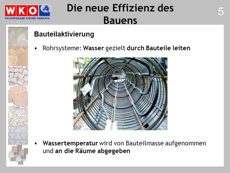 Rohrsysteme: Wasser gezielt durch Bauteile leiten Wassertemperatur wird von Bauteilmasse aufgenommen und an die Räume abgegeben 5 Bauteilaktivierung
