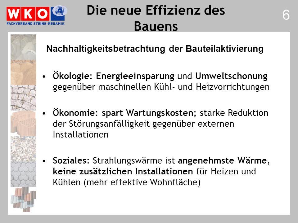 Die neue Effizienz des Bauens Ökologie: Energieeinsparung und Umweltschonung gegenüber maschinellen Kühl- und Heizvorrichtungen Ökonomie: spart Wartun