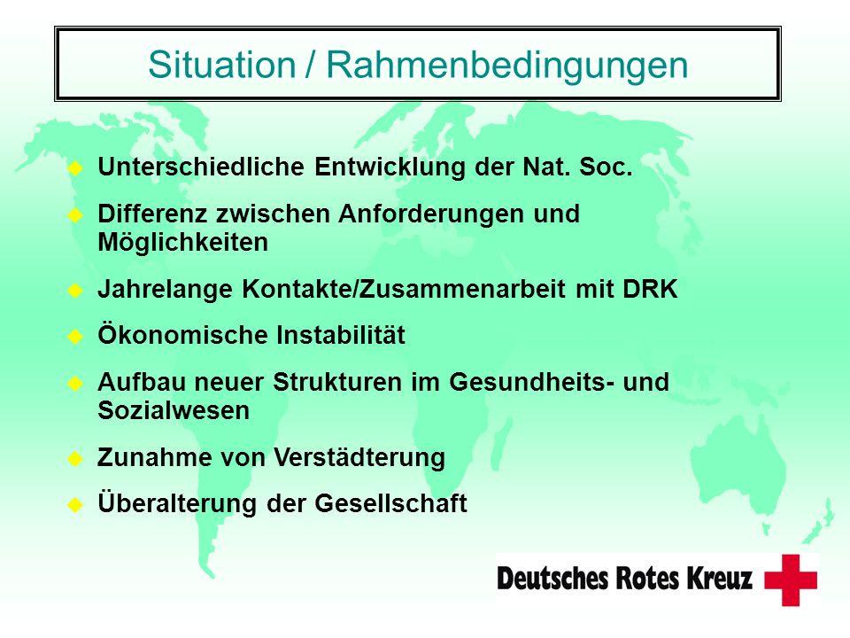 Situation / Rahmenbedingungen u Unterschiedliche Entwicklung der Nat. Soc. u Differenz zwischen Anforderungen und Möglichkeiten u Jahrelange Kontakte/