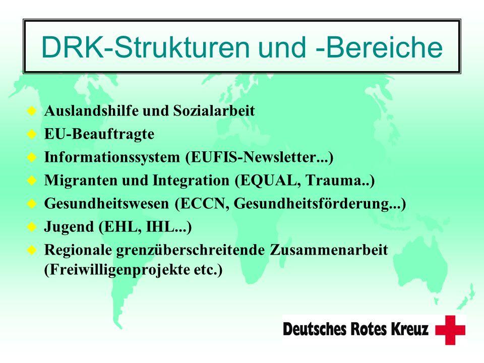 DRK-Strukturen und -Bereiche u Auslandshilfe und Sozialarbeit u EU-Beauftragte u Informationssystem (EUFIS-Newsletter...) u Migranten und Integration