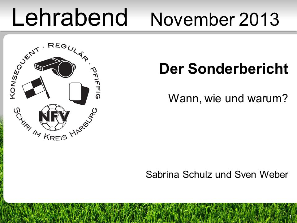 1 Der Sonderbericht Wann, wie und warum? Sabrina Schulz und Sven Weber Lehrabend November 2013