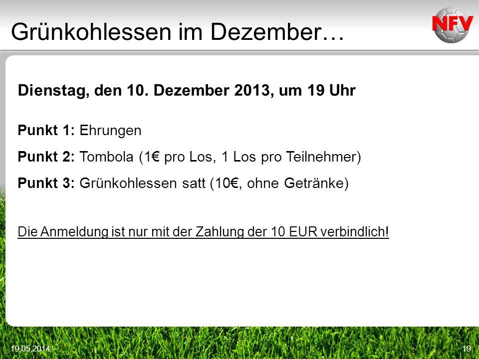 Grünkohlessen im Dezember… 19.05.201419 Dienstag, den 10. Dezember 2013, um 19 Uhr Punkt 1: Ehrungen Punkt 2: Tombola (1 pro Los, 1 Los pro Teilnehmer