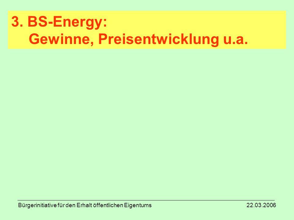 Bürgerinitiative für den Erhalt öffentlichen Eigentums 22.03.2006 3. BS-Energy: Gewinne, Preisentwicklung u.a.