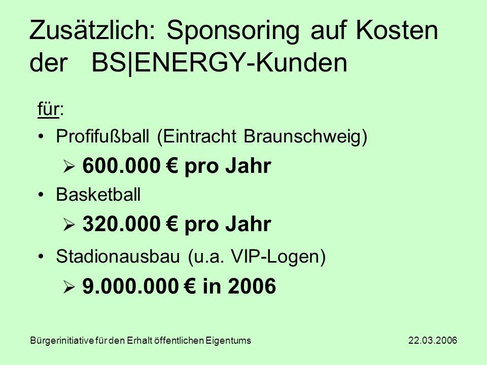 Bürgerinitiative für den Erhalt öffentlichen Eigentums 22.03.2006 Zusätzlich: Sponsoring auf Kosten der BS|ENERGY-Kunden für: Profifußball (Eintracht