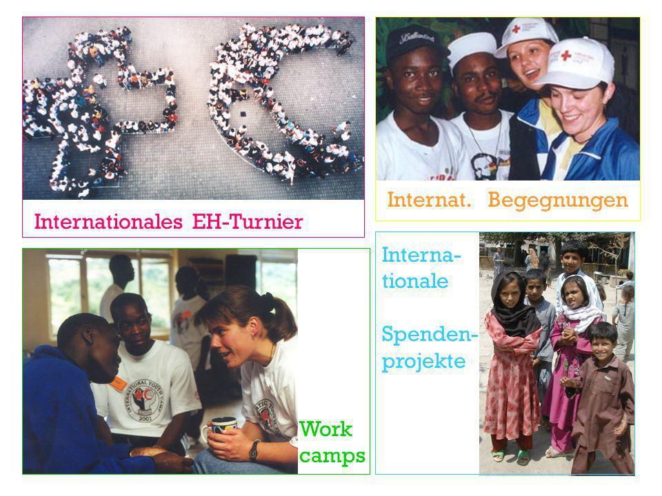 Internationales EH-Turnier Internat. Begegnungen Work camps Interna- tionale Spenden- projekte