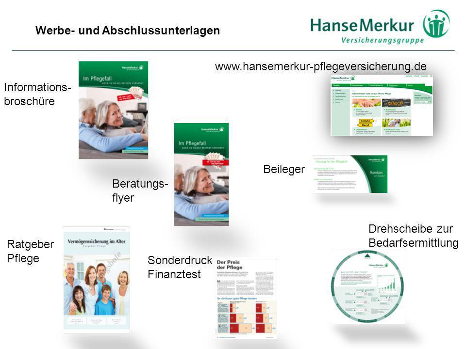 Werbe- und Abschlussunterlagen Informations- broschüre Ratgeber Pflege Sonderdruck Finanztest www.hansemerkur-pflegeversicherung.de Beileger Drehschei