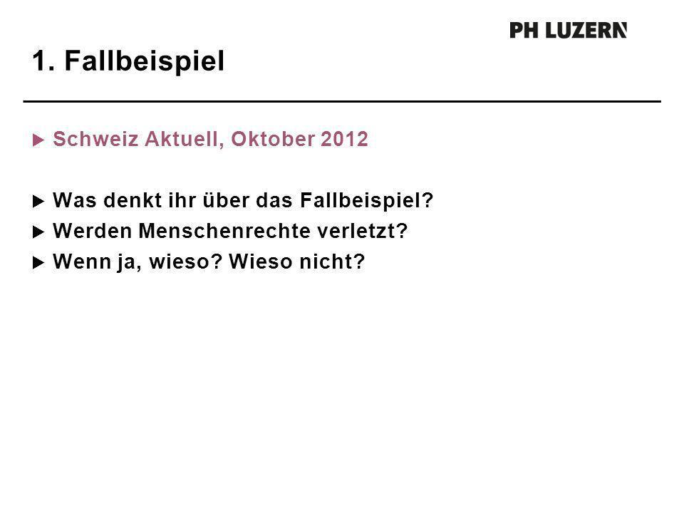 1. Fallbeispiel Schweiz Aktuell, Oktober 2012 Was denkt ihr über das Fallbeispiel? Werden Menschenrechte verletzt? Wenn ja, wieso? Wieso nicht?