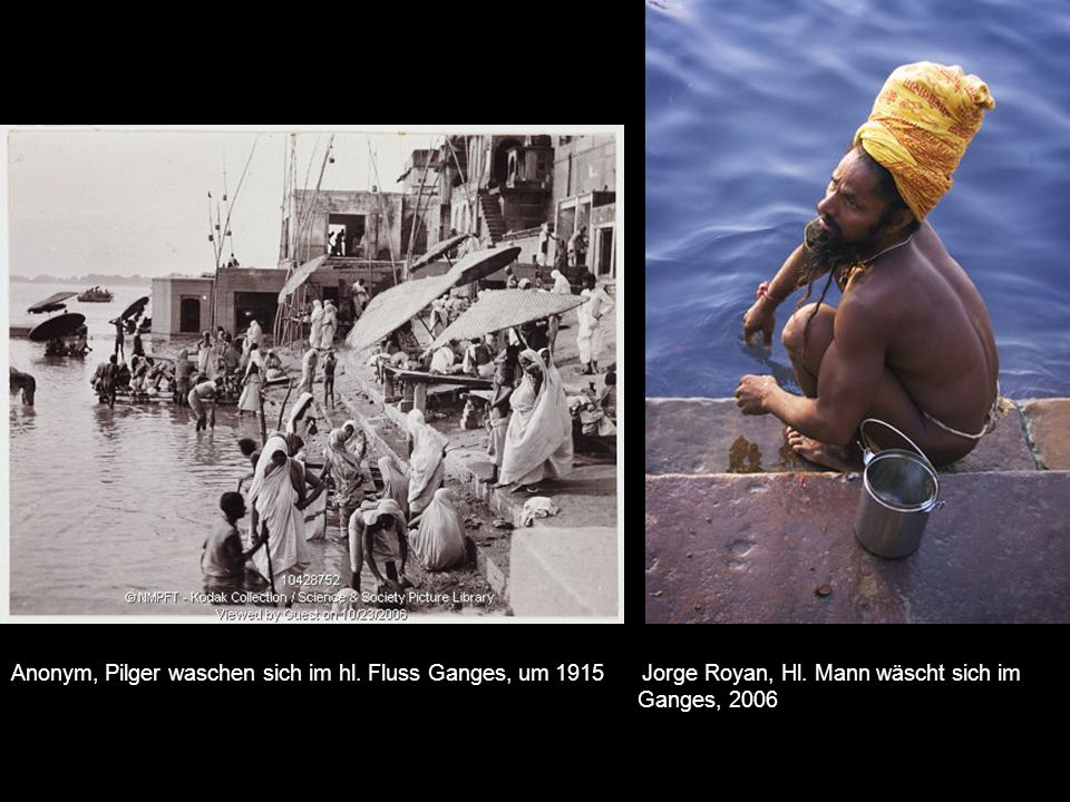 Anonym, Pilger waschen sich im hl.Fluss Ganges, um 1915 Jorge Royan, Hl.