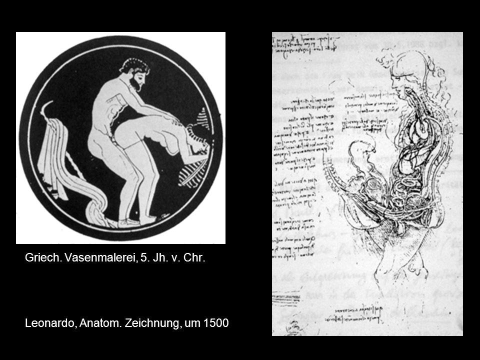 Griech. Vasenmalerei, 5. Jh. v. Chr. Leonardo, Anatom. Zeichnung, um 1500