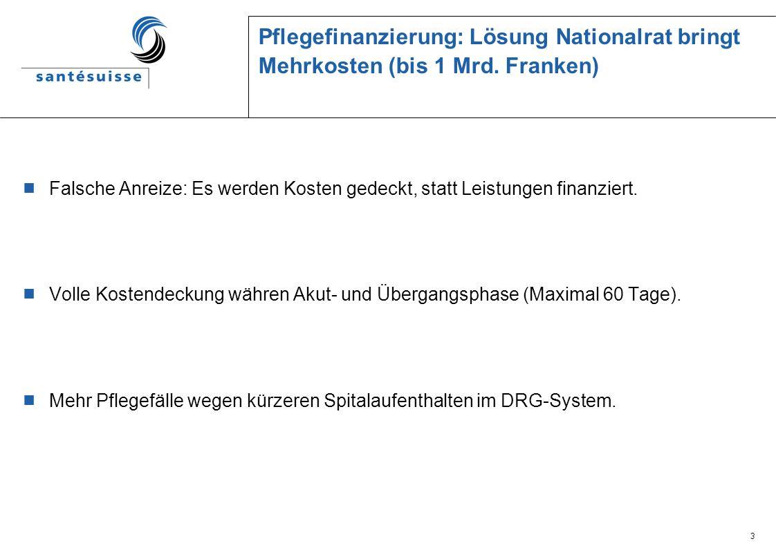 3 Pflegefinanzierung: Lösung Nationalrat bringt Mehrkosten (bis 1 Mrd.