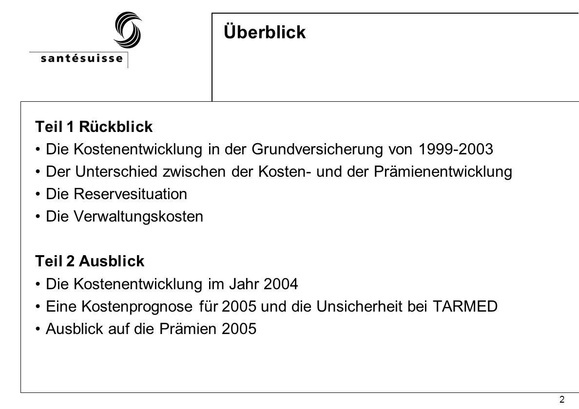 3 Die Kostenentwicklung in der Grundversicherung 1999 und 2003 In Mio.