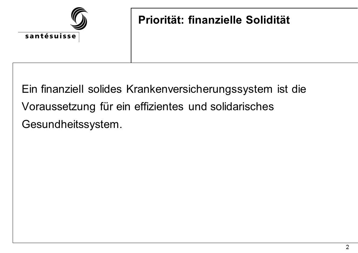 2 Priorität: finanzielle Solidität Ein finanziell solides Krankenversicherungssystem ist die Voraussetzung für ein effizientes und solidarisches Gesun