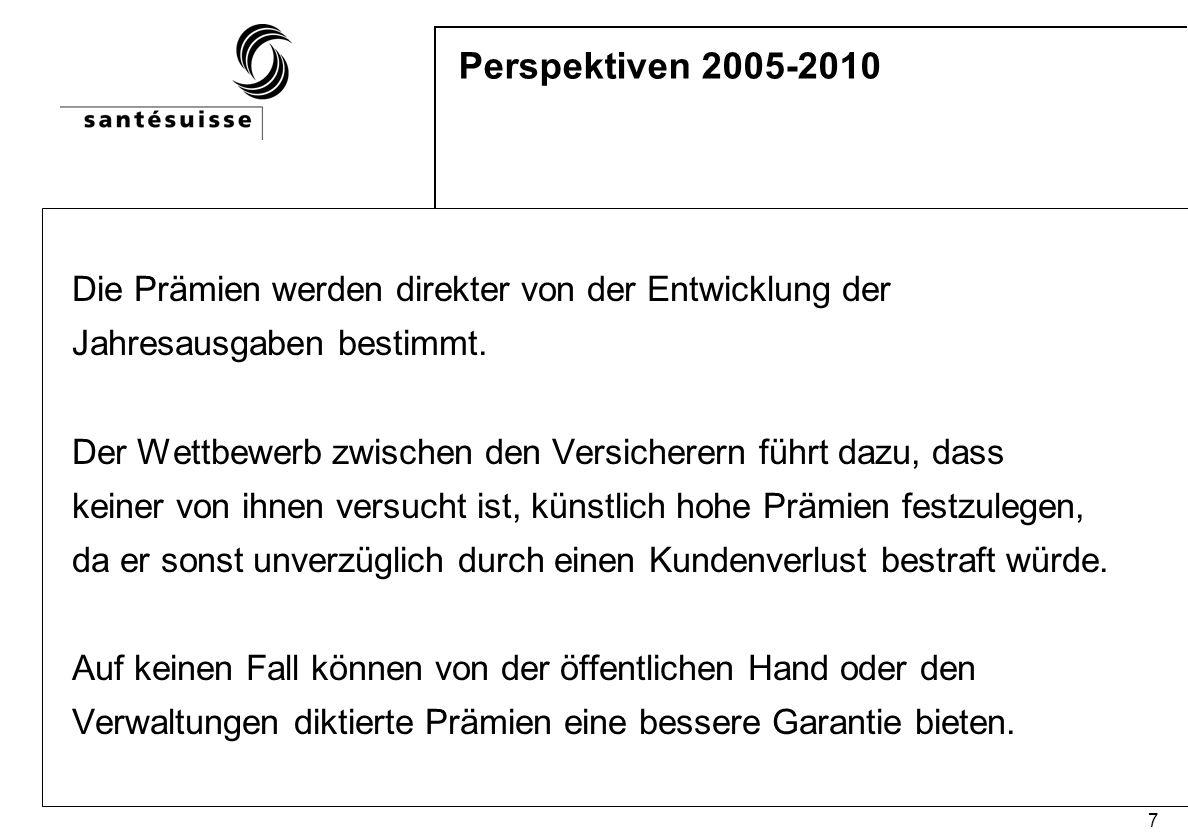 7 Perspektiven 2005-2010 Die Prämien werden direkter von der Entwicklung der Jahresausgaben bestimmt. Der Wettbewerb zwischen den Versicherern führt d