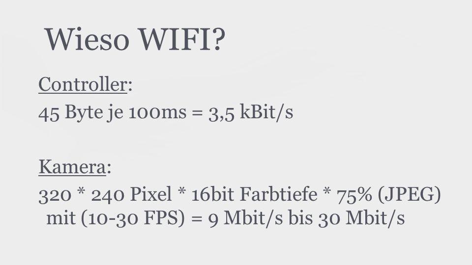 Wieso WIFI? Controller: 45 Byte je 100ms = 3,5 kBit/s Kamera: 320 * 240 Pixel * 16bit Farbtiefe * 75% (JPEG) mit (10-30 FPS) = 9 Mbit/s bis 30 Mbit/s