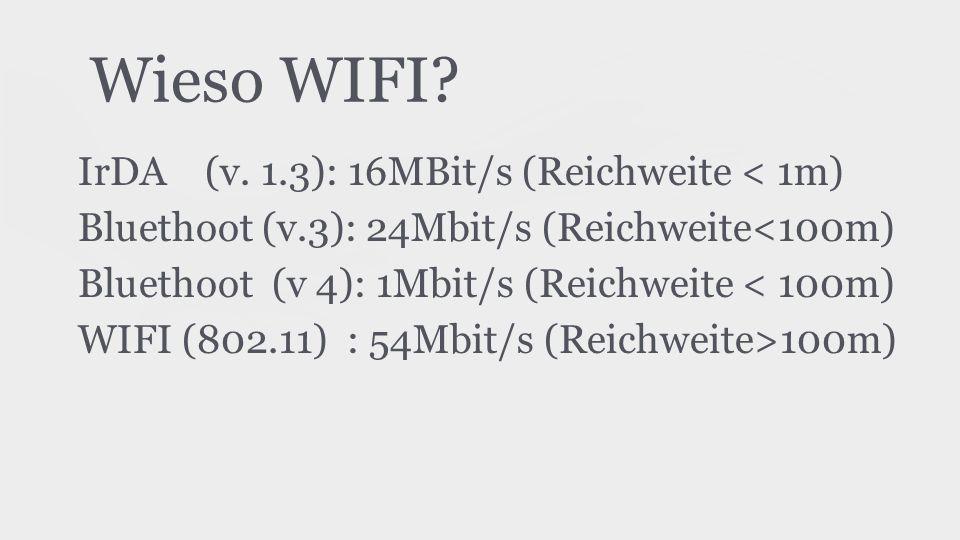 Wieso WIFI? IrDA (v. 1.3): 16MBit/s (Reichweite < 1m) Bluethoot (v.3): 24Mbit/s (Reichweite<100m) Bluethoot (v 4): 1Mbit/s (Reichweite < 100m) WIFI (8