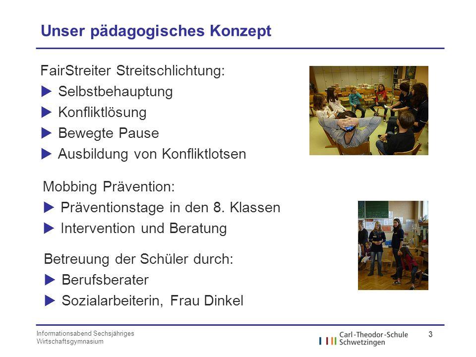Informationsabend Sechsjähriges Wirtschaftsgymnasium 3 Unser pädagogisches Konzept FairStreiter Streitschlichtung: Selbstbehauptung Konfliktlösung Bew