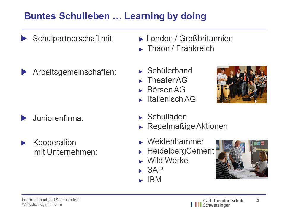 Informationsabend Sechsjähriges Wirtschaftsgymnasium 4 Buntes Schulleben … Learning by doing Schulpartnerschaft mit: London / Großbritannien Thaon / F