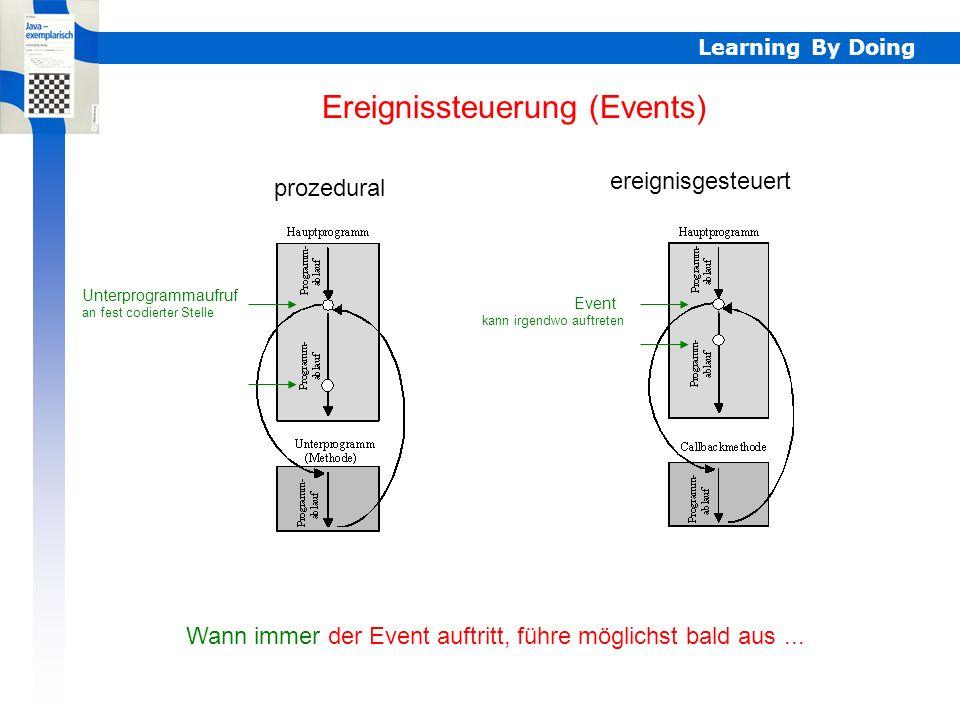 Learning By Doing Ereignissteuerung (Events) prozedural ereignisgesteuert Unterprogrammaufruf an fest codierter Stelle Wann immer der Event auftritt, führe möglichst bald aus...
