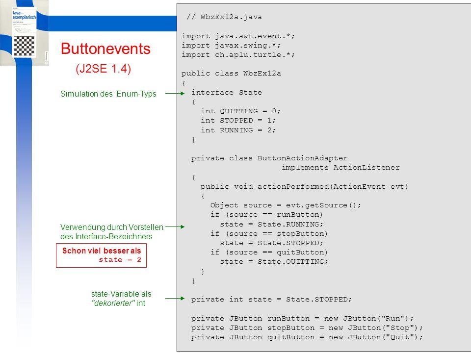 Learning By Doing ButtonEvents Buttonevents public WbzEx12a() { Turtle t = new Turtle(); JPanel jp = t.getPlayground(); jp.add(runButton); jp.add(stopButton); jp.add(quitButton); jp.validate(); ButtonActionAdapter adapter = new ButtonActionAdapter(); runButton.addActionListener(adapter); stopButton.addActionListener(adapter); quitButton.addActionListener(adapter); while (state != State.QUITTING) { switch(state) { case State.STOPPED: Thread.yield(); break; case State.RUNNING: t.forward(10).left(10); break; } System.exit(0); } public static void main(String[] args) { new WbzEx12a(); } (J2SE 1.4) Verwendung durch Vorstellen des Interface-Bezeichners