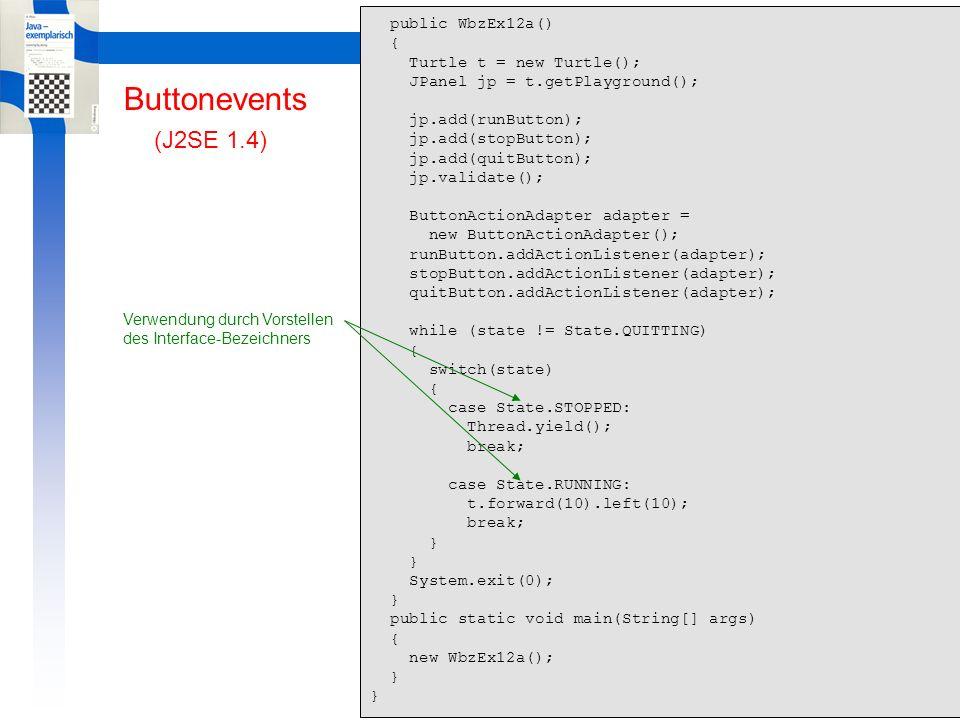 Learning By Doing GUI Muster GUI-Muster // WbzEx13.java import java.awt.*; import javax.swing.*; import ch.aplu.util.*; public class WbzEx13 extends JPanel { private int count = 0; public WbzEx13() { JFrame f = new JFrame( Frame Window ); f.setDefaultCloseOperation(WindowConstants.EXIT_ON_CLOSE); f.getContentPane().add(this); f.setBounds(50, 50, 550, 550); f.setVisible(true); } public void paintComponent(Graphics g) { super.paintComponent(g); g.drawOval(0, 0, 500, 500); g.drawString( WBZ-Kurs \ Java im Unterricht\ , 180, 250); Graphics2D g2D = (Graphics2D)g; g2D.setStroke(new BasicStroke(8)); Line2D.Double line = new Line2D.Double(20, 300, 480, 300); g2D.draw(line); System.out.println(count++); } public static void main(String[] args) { Console.init(); new WbzEx13(); } JPanel als Grafik-Fenster paintComponent() wird bei jedem System-Trigger aufgerufen JFrame als umfassendes Fenster Aktion beim Klicken des Close-Buttons Füge das JPanel in das JFrame Position und Grösse des JFrames Zeige das JFrame mit Inhalt Aufruf überschr.