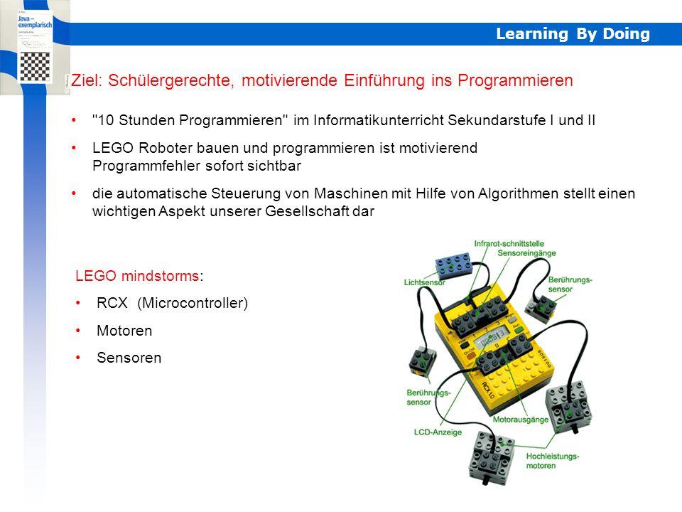 LEGO-Robotik mit Java Projekt Virtueller Campus LLB Projektlauzeit: Oktober 2003 - Februar 2006 Mitarbeiter:Jarka Arnold (Projektleitung) Andreas Marti Daniel Studer Learning By Doing http://www2.sis.unibe.ch/kl/llbs1/lego/