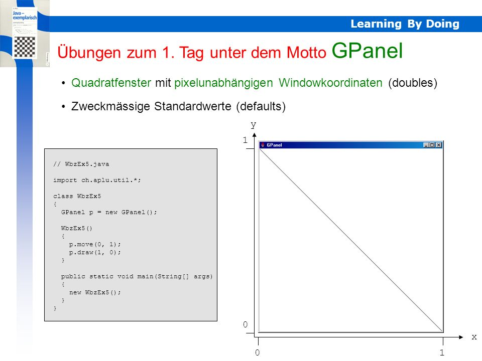 Learning By Doing Inkrementelle Grafik, auch Animation möglich (Doppelbufferung) Elementare Stifteigenschaften: Farbe, Dicke Elementare Formen: Rechteck, Kreis, Dreieck GPanel // WbzEx6.java import ch.aplu.util.*; import static java.lang.Math.*; import java.awt.Color; class WbzEx6 { WbzEx6() { GPanel p = new GPanel(); for (int i = 0; i < 100; i++) { Color c = new Color((float)random(), (float)random(), (float)random()); p.color(c); p.move(random(), random()); p.fillRectangle(0.5*random(), 0.5*random()); } public static void main(String[] args) { new WbzEx6(); } Info GPanel